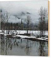 Yosemite River View In Snowy Winter Wood Print by Jeff Lowe