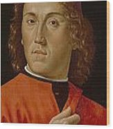 Young Man  Wood Print by Domenico Ghirlandaio