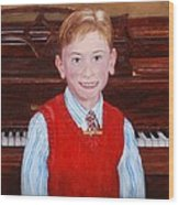 Young Piano Student Wood Print by Phyllis Barrett