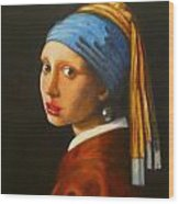 Young Woman With Pearl Earring Wood Print by Hugo Palomares
