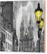Bw Prague Old Town Squere Wood Print by Yuriy  Shevchuk