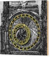 Bw Prague The Horologue At Oldtownhall Wood Print by Yuriy  Shevchuk