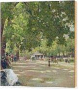 Hyde Park - London Wood Print by Count Girolamo Pieri Nerli