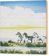 Indian Ponies Wood Print by Jerome Stumphauzer