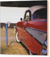 Red Chevy At The Drive-in Wood Print by Robert Ponzoni