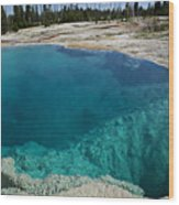 Turquoise Hot Springs Yellowstone Wood Print by Garry Gay