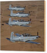 A Formation Of Iraqi Air Force T-6 Wood Print by Stocktrek Images