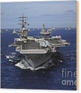 Aircraft Carrier Uss Ronald Reagan Wood Print by Stocktrek Images