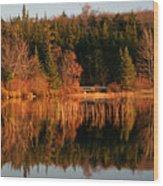 Autumn Lake Wood Print by Kate  Leikin