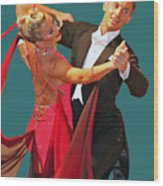 Ballroom Dancers Wood Print by Larry Linton