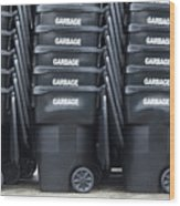Black Garbage Bins Wood Print by Don Mason