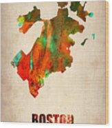 Boston Watercolor Map  Wood Print by Naxart Studio