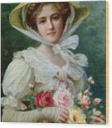Elegant Lady With A Bouquet Of Roses Wood Print by Emile Vernon
