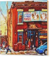 Fairmount Bagel In Winter Wood Print by Carole Spandau