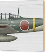 Illustration Of A Mitsubishi A6m2 Zero Wood Print by Inkworm