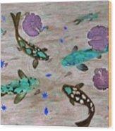 Koi Fish Feng Shui Wood Print by Georgeta  Blanaru