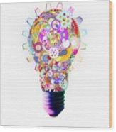 Light Bulb Design By Cogs And Gears  Wood Print by Setsiri Silapasuwanchai