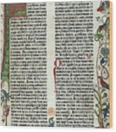 Page Of The Gutenberg Bible, 1455 Wood Print by Photo Researchers