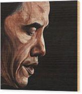 President Barack Obama Portrait Wood Print by Patty Vicknair