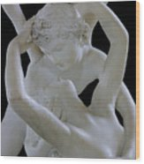 Psyche Revived By The Kiss Of Cupid Wood Print by Antonio Canova