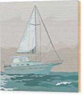 Sailboat Retro Wood Print by Aloysius Patrimonio