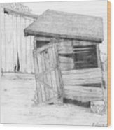 Shed And Wpa Outhouse On Johnson Farm Wood Print by Tree Whisper Art - DLynneS