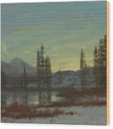 Snow In The Rockies Wood Print by Albert Bierstadt