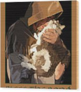 St. Francis With Cat Wood Print by Kris Hackleman