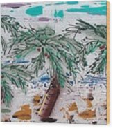 Surf N Palms Wood Print by J R Seymour