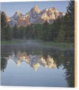 Teton Reflections Wood Print by Andrew Soundarajan