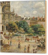 The Banks Of The Seine At Bougival Wood Print by Pierre Auguste Renoir