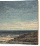 The Sea Wood Print by Gustave Courbet