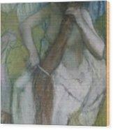 Woman Combing Her Hair Wood Print by Edgar Degas