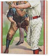 1895 In The Batters Box Wood Print by Daniel Hagerman