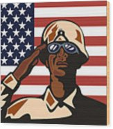 American Soldier Saluting Flag Wood Print by Aloysius Patrimonio
