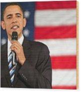 Barack Obama On Stage For Barack Obama Wood Print by Everett