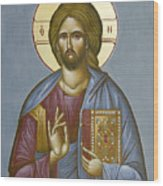 Christ Pantokrator Wood Print by Julia Bridget Hayes