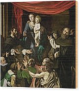 Madonna Of The Rosary Wood Print by Caravaggio
