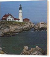 Lighthouse - Portland Head Maine Wood Print by Frank Romeo