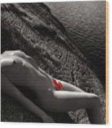 Nude Woman Lying On Rocks By The Water Wood Print by Oleksiy Maksymenko