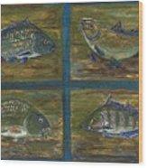 4 Fishes Wood Print by Anna Folkartanna Maciejewska-Dyba