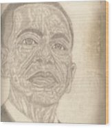 44th President Barack Obama By Artist Fontella Moneet Farrar Wood Print by Fontella Farrar