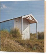 A Beach Hut In The Marram Grass At Old Hunstanton North Norfolk Wood Print by John Edwards