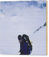 A Climber On The Descent Wood Print by Bill Hatcher