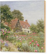 A Cottage Garden Wood Print by Henry Sutton Palmer