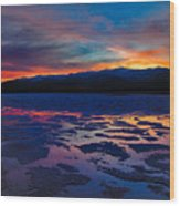 A Death Valley Sunset In The Badwater Basin Wood Print by Kim Michaels