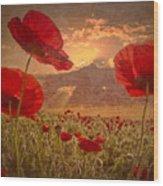 A Poppy Kind Of Morning Wood Print by Debra and Dave Vanderlaan