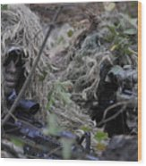 A Sniper Team Spotter And Shooter Wood Print by Stocktrek Images