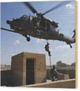 A U.s. Air Force Pararescuemen Fast Wood Print by Stocktrek Images