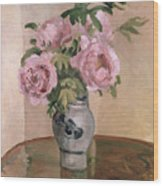A Vase Of Peonies Wood Print by Camille Pissarro